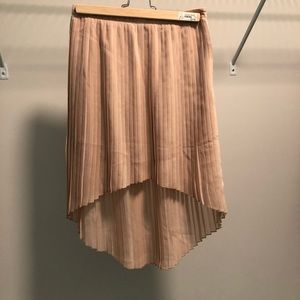 F21 Nude high-low lined pleated skirt
